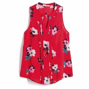 🆕 41 Hawthorn Breyson Red Floral Pleated Blouse
